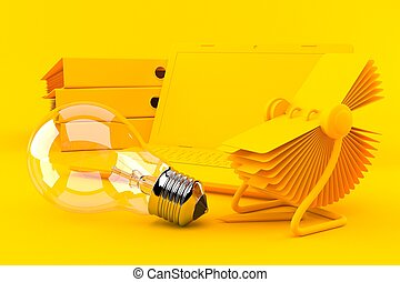 Office background with light bulb in orange color. 3d ...