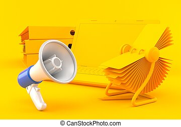 Office background with megaphone in orange color. 3d ...