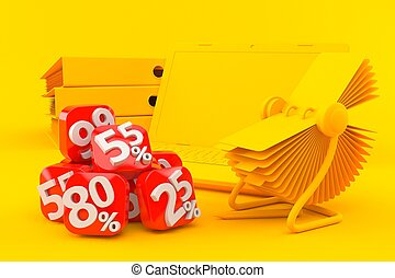 Office background with percent numbers in orange color. 3d ...