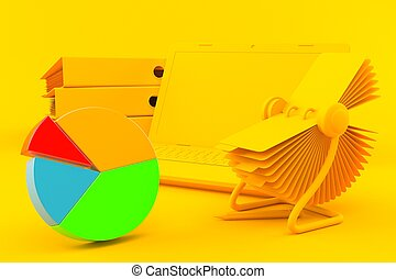 Office background with pie chart in orange color. 3d ...