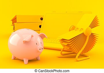 Office background with piggy bank in orange color. 3d ...