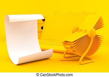 Office background with sheet of paper in orange color. 3d ...
