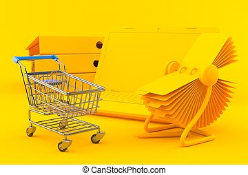 Office background with shopping cart in orange color. 3d ...