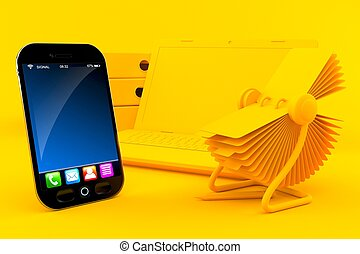 Office background with smart phone in orange color. 3d ...