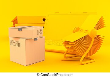 Office background with stack of boxes in orange color. 3d ...