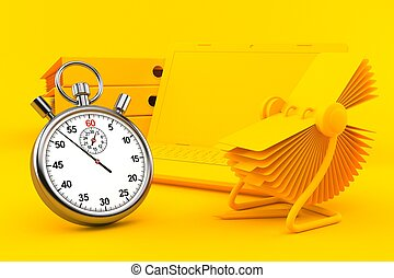 Office background with stopwatch in orange color. 3d ...