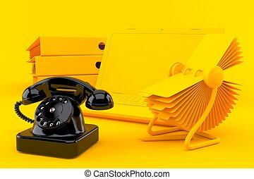 Office background with telephone in orange color