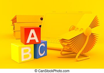Office background with toy blocks in orange color