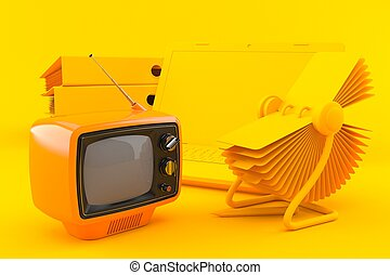Office background with tv in orange color. 3d illustration