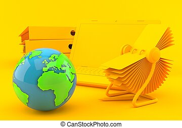 Office background with world globe in orange color. 3d ...