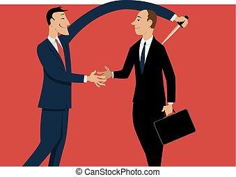 Office backstabber - Dishonest businessman shaking hands...