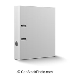 Office binder standing on white background. - Blank closed...