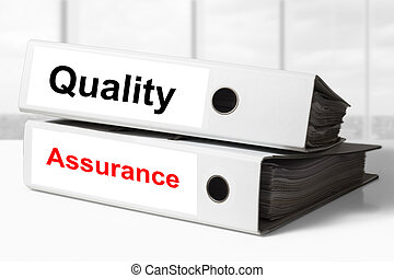 office binders quality assurance - stack of two white office...
