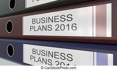 Office binders with Business plans tags different years
