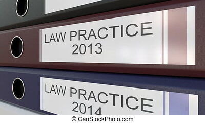 Office binders with Law practice tags different years - Line...