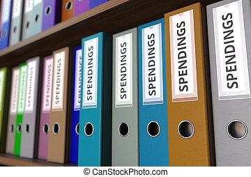 Office binders with SPENDINGS inscription. 3D rendering -...