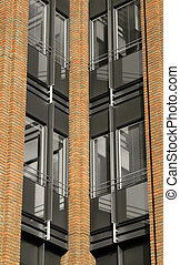 office block abstract - office block brick and glass...