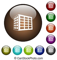 Office block color glass buttons