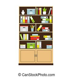 Office bookcase with books and folders
