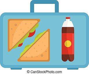 Office breakfast icon, flat style