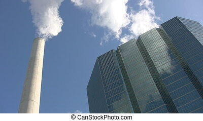 Office building and steam pipe.
