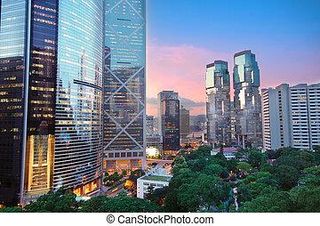 office building at night in hong kong