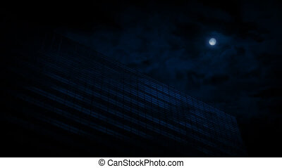 Office Building At Night With Moon - Big glass office...