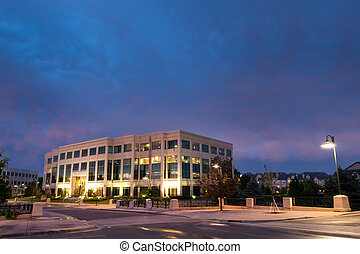 Office building before sunset.