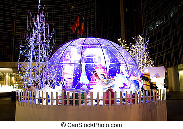 Office building christmas night scenes