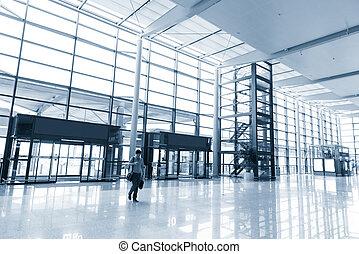 office building corridor - empty long corridor in the modern...
