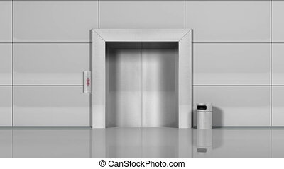 """""""Office building elevator opens and closes doors. """" -..."""