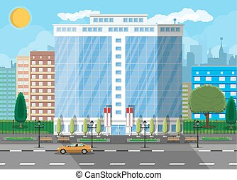 Office building exterior. Commercial building, hotel, business centre. Skyscraper modern city house. Cityscape, road, car, tree, sun and clouds. Vector illustration in flat style