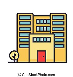 Office building flat line illustration, concept vector isolated icon