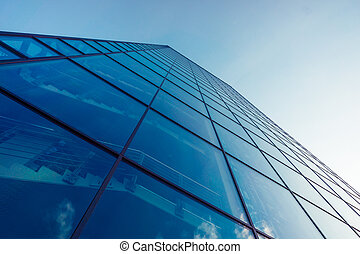 office building. glass silhouettes of skyscrapers