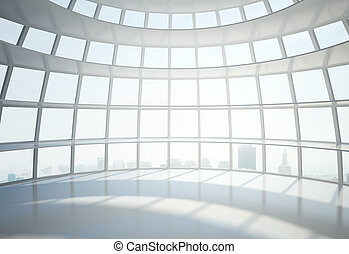 office building hall and city in window