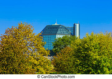 Office Building in Colorful Trees