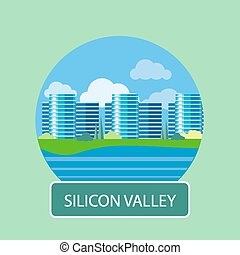 Office building in Silicon Valley - Silicon Valley sign....