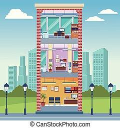 Office building interior at city cartoons vector...