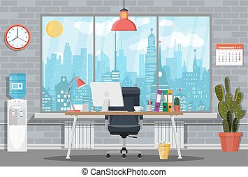 Office building interior. Desk with computer, chair, lamp,...