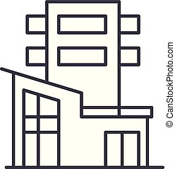 Office building line icon concept. Office building vector linear illustration, symbol, sign