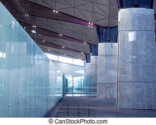 Office Building Lobby or airport Background. Modern interior. Glass and concrete