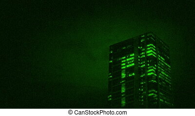 Large office tower nightvision view