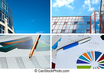 Office building, official papers, business collage - Office...