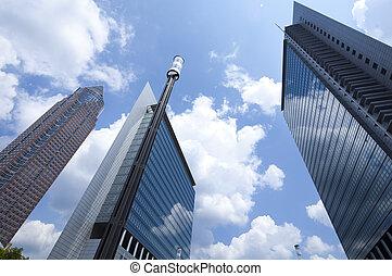 Office building on blue sky