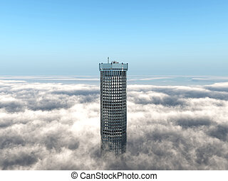 Office building rising above the clouds