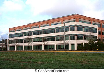 Office Building - generic office building with green lawn...