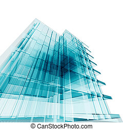 Office building. Amazing turquoise glass and reflections
