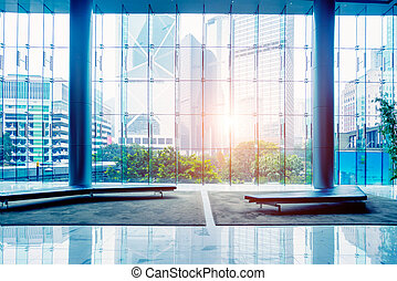 office building - Glass wall in the office building