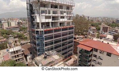 Office building under construction in Kathmandu drone...