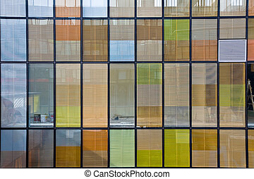 Office building with colorful windows